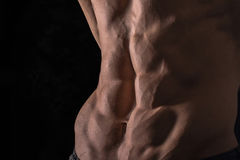 Close up perfect abs. Sexy muscular male torso six packs. Handsome shirtless muscular young man Royalty Free Stock Photos
