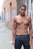 Close up on perfect abs. Strong bodybuilder with six pack Royalty Free Stock Photos