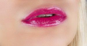 Close-up perfect natural lip makeup beautiful female mouth. Plum. P full lips. Macro photo face detail. Perfect clean skin fresh lip make-up. Beautiful spa royalty free stock image