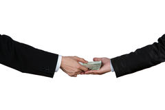 Close-up Of Person Hand Giving Money To Other Hand Royalty Free Stock Image