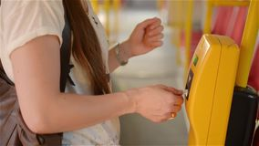 Close-up Of Person Hands Inserting Ticket in The Bus, young woman Inserting Ticket in the public transport. HD stock video