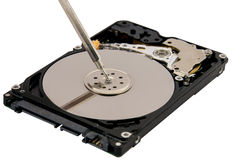 Close-up Of Person Hands Repairing Harddisk Royalty Free Stock Images