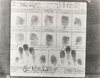 Close-up of person's fingerprints taken at police headquarters Stock Images
