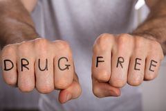 Drug Free Concept On Fist. Close-up Of A Person Showing Drug Free Concept On Fist stock image