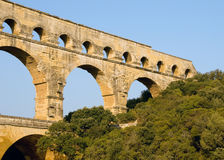 Close-up Perspective of Pont du Gard. This early morning shot was taken of the Pont du Gard Roman aqueduct Royalty Free Stock Photo