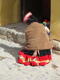Close up of Peruvian lady in authentic dress Royalty Free Stock Photography