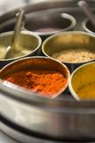 Close-up pf masala spices in metal bowls Stock Photo