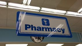 Close up pharmacy sign stock video
