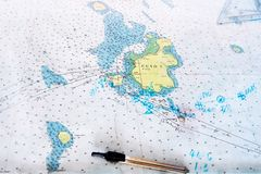 Close-up of a philippine sea map with compass and ruler stock photos