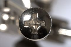 Close up of Phillips Screw Head Stock Photo