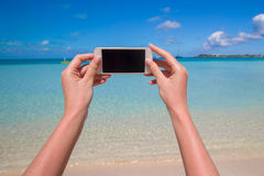 Close up phone background turquoise sea Stock Photography