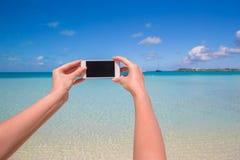 Close up phone background turquoise sea Stock Photos