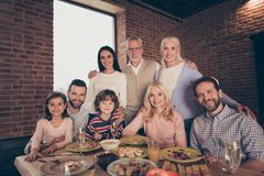 Close up photo adorable affectionate people big family funny company brother sister granny mom grandpa son daughter dad royalty free stock images