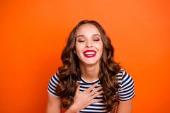 Close up photo amazing beautiful she her lady funky red lips hand arm breast eyes closed achieve compliments bowing wear. Casual striped white blue t-shirt royalty free stock photography