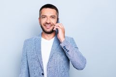 Close up photo amazing he him his guy macho hold hands arms telephone smart phone speak tell partnership leader big. Close up photo amazing he him his guy macho stock photos