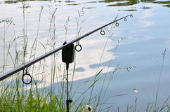 Close up photo of angling rod Royalty Free Stock Images