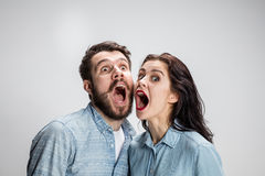 Close up photo of angry man and woman Stock Image