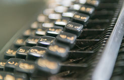 Close up photo of antique typewriter keys, focus on 6 key Royalty Free Stock Photography