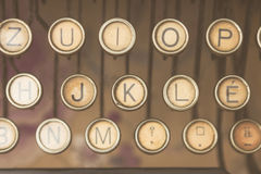 Close up photo of antique typewriter keys Stock Photography
