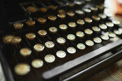 Close up photo of antique typewriter keys, shallow focus.  Stock Images