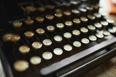 Close up photo of antique typewriter keys, shallow focus Stock Images