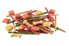 Close up photo of assorted shaped dog biscuits and chews Royalty Free Stock Photo
