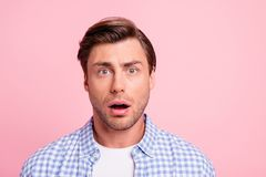 Close up photo of attractive amazed really oh no he him his man do not want such bad finish ending mouth opened wearing. Casual plaid shirt outfit isolated on stock photo