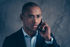 Close up photo attractive handsome classy economist manager macho short hair bald dialogue colleagues clients investors. Solve problems connection focused royalty free stock photos