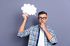 Free Close Up Photo Attractive He Him His Guy Arms Hands White Empty Paper Cloud Deep Thinking Over Speech Text Filling Wear Stock Images - 151066404