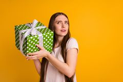 Close up photo beautiful amazing funny funky she her model long hair lady celebrate holiday arms large big giftbox. Close up photo beautiful amazing funny funky royalty free stock images