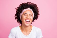 Close up photo beautiful amazing she her dark skin lady laughing out loud easy-going attractive perfect teeth listen stock photography