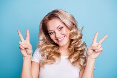 Close up photo beautiful amazing her she lady arms show v-sign say hi white teeth pretty dimples cheeks cheekbones wear royalty free stock images