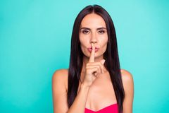Close up photo beautiful amazing she her lady hold arm hand finger pink pretty lips pomade lipstick ask not tell speak. Talk cunning formal-wear red dress stock photos