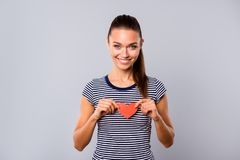 Close up photo beautiful amazing she her lady hold arms hands little small red paper heart shape figure postcard stock image