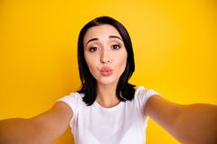Close up photo beautiful amazing she her lady make take selfies speak talk tell skype send air kiss boyfriend parents. Close up photo beautiful amazing she her stock photography