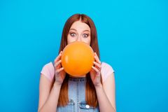Close up photo beautiful amazing she her lady sly crazy person make big bubble gum shocked opened eyes weekend childish. Mood wear casual jeans denim overalls royalty free stock image