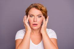 Close up photo beautiful amazing model she her lady oh no facial expression hold hands arms facial eyelid skin terrible. Result using cream wrinkled more wear royalty free stock image