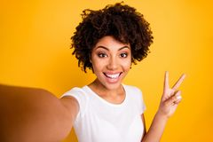 Free Close Up Photo Beautiful Amazing She Her Dark Skin Lady Arm Hand Show V-sign Make Take Selfies Cute Attractive White Royalty Free Stock Photos - 139818098