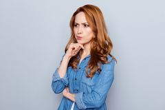 Free Close Up Photo Beautiful Amazing She Her Lady Not Smiling Look Side Empty Space Hmm Arm Finger Chin Not Sure Right Way Royalty Free Stock Photo - 145375065