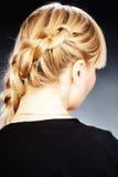 Hairdo. Close up photo of beautiful braid hairdo stock photography