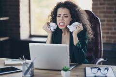 Close up photo beautiful disappointed lady executive banker fail project dilemma irritated scandals colleagues clients. Boss use pc device crazy crumple paper royalty free stock image