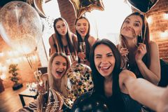 Close up photo beautiful five she her chic ladies little drunk clink wineglasses beverage tongue out mouth funny make
