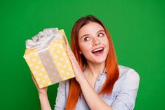 Close up photo beautiful funny funky she her foxy model lady celebrate holiday arms large big giftbox wondered what. Inside overjoyed wear casual jeans denim royalty free stock photo