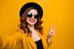 Close Up Photo Beautiful Funny Funky She Her Toothy Lady Make Take Selfies Show V-sign Symbol Vacation Red Pomade Lips Stock Images