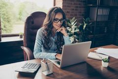 Close up photo beautiful she her business lady got promotion look screen sitting big office chair working chatting. Investors get only agreement answer wearing royalty free stock photo