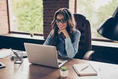 Close up photo beautiful she her business lady got promotion look screen speak skype sit big office chair working. Chatting investors hear good news glad answer stock images