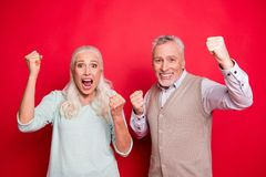 Close up photo beautiful she her he him his aged white hair guy lady partners hold hands arms fists raised yelling loud stock photo