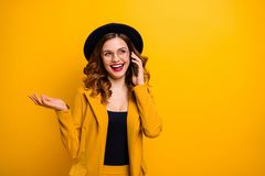 Close up photo beautiful she her lady arm hand telephone speak talk say tell friends relatives laughter crazy humor joke. Story wear specs formal-wear costume stock photo