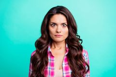 Close up photo beautiful she her lady big full fear eyes oh no face epic fail problem speechless silent quiet wearing. Casual plaid checkered pink shirt outfit stock images