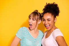 Close up photo beautiful she her lady blink eyes positive buddies fellows mouth opened excited different nationalities. Wear casual white striped t-shirt stock photos